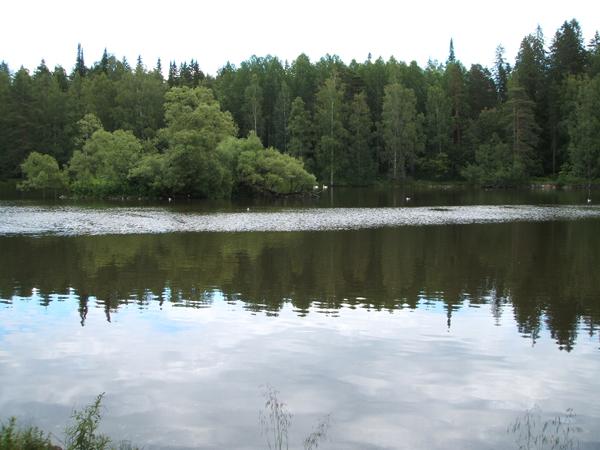 湖面が鏡のようなその名もスワンレイク。ヒューゴさんはロマンチストだったのでしょうか…。